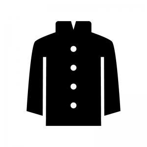 学ラン・学生服の白黒シルエットイラスト02