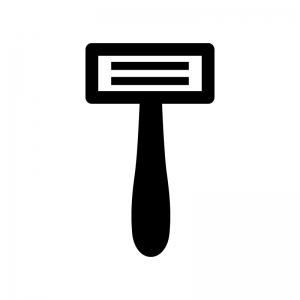 T字のカミソリ・髭剃りの白黒シルエットイラスト02