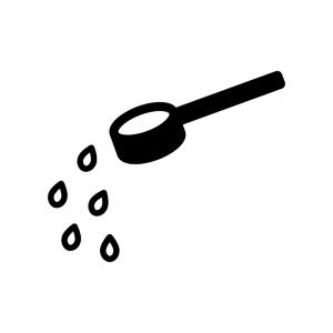 ひしゃく(柄杓)の白黒シルエットイラスト