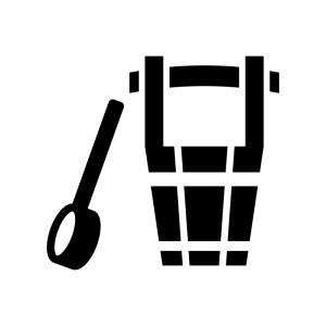 ひしゃく(柄杓)と桶の白黒シルエットイラスト