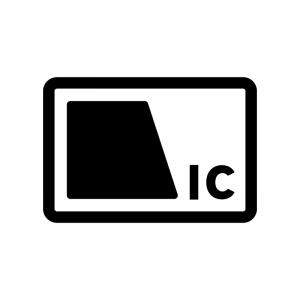 交通系のICカードの白黒シルエットイラスト