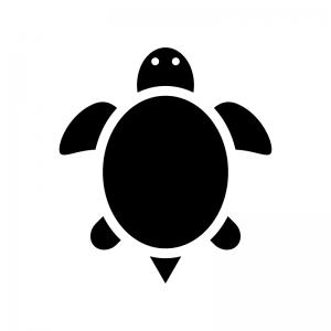 亀のシルエット 無料のaipng白黒シルエットイラスト