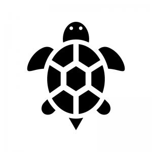 亀のシルエット02 無料のaipng白黒シルエットイラスト
