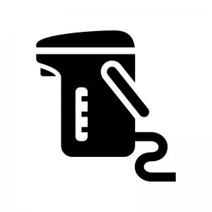 電気魔法瓶の白黒シルエットイラスト