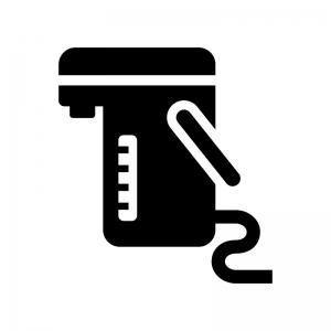 電気魔法瓶の白黒シルエットイラスト02