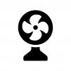 扇風機の白黒シルエットイラスト02