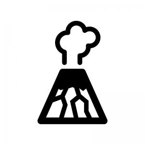 火山噴火の白黒シルエットイラスト02