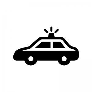 パトカーの白黒シルエットイラスト03