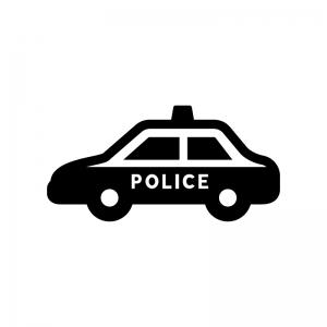 パトカーの白黒シルエットイラスト04
