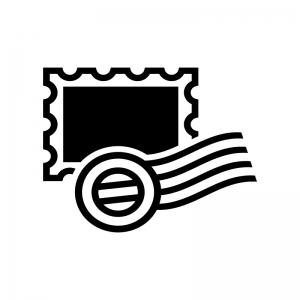 消印の押された切手の白黒シルエットイラスト