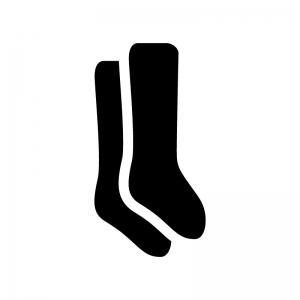 靴下・ハイソックスの白黒シルエットイラスト