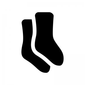 靴下・ソックスの白黒シルエットイラスト