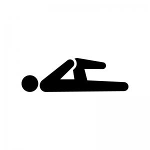 足のストレッチの白黒シルエットイラスト02