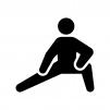 足・腰のストレッチの白黒シルエットイラスト