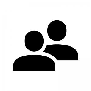 複数人の人物の白黒シルエットイラスト03