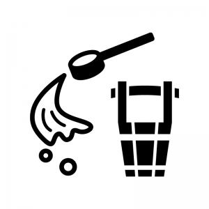 打ち水の白黒シルエットイラスト