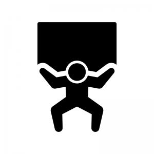 重いものを持ち上げる人の白黒シルエットイラスト02