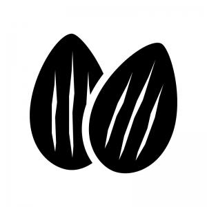 アーモンドの白黒シルエットイラスト