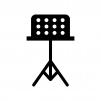 譜面台の白黒シルエットイラスト02
