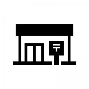 郵便局の白黒シルエットイラスト