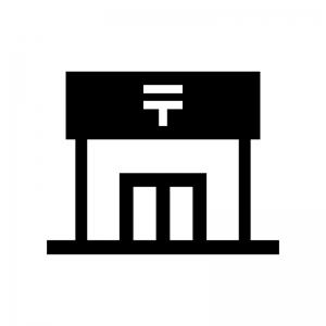 郵便局の白黒シルエットイラスト02