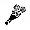 バラの花束の白黒シルエットイラスト