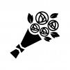 バラの花束の白黒シルエットイラスト02