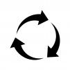 3つの回転矢印の白黒シルエットイラスト