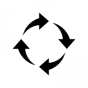 4つの回転矢印の白黒シルエットイラスト