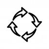 4つの回転矢印の白黒シルエットイラスト02