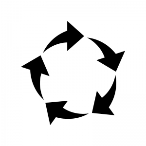 5つの回転矢印の白黒シルエットイラスト