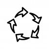 5つの回転矢印の白黒シルエットイラスト02