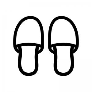 スリッパの白黒シルエットイラスト02