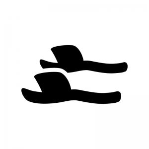 サンダル・スリッパの白黒シルエットイラスト