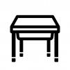 学校の机の白黒シルエットイラスト