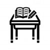 学校机とペンとノートの白黒シルエットイラスト