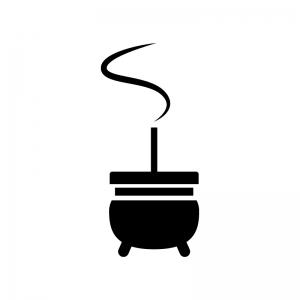 お線香の白黒シルエットイラスト02