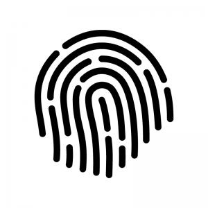 指紋の白黒シルエットイラスト