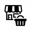 ショップと買い物かごの白黒シルエットイラスト02