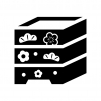 梅と松の重箱の白黒シルエットイラスト