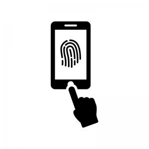 スマホの指紋認証の白黒シルエットイラスト03
