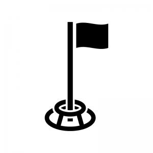 グラウンドゴルフの白黒シルエットイラスト