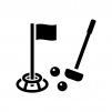 グラウンドゴルフの白黒シルエットイラスト02