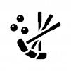 グラウンドゴルフの白黒シルエットイラスト03