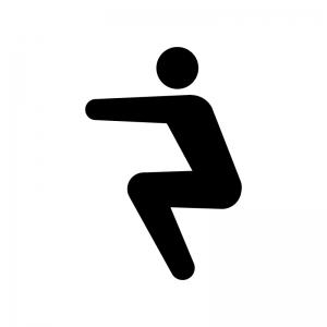 膝のストレッチの白黒シルエットイラスト