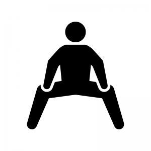 開脚のストレッチの白黒シルエットイラスト