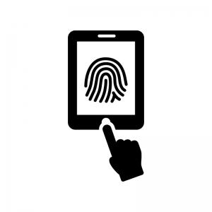 タブレットの指紋認証の白黒シルエットイラスト