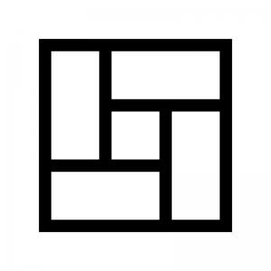 畳(4畳半)の白黒シルエットイラスト