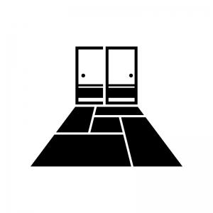 襖と畳(4畳半)の白黒シルエットイラスト