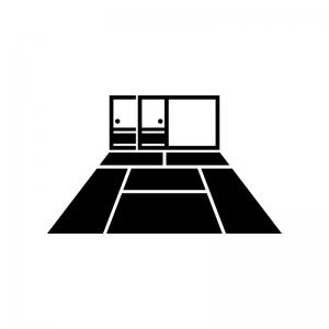 襖と畳(6畳)の白黒シルエットイラスト